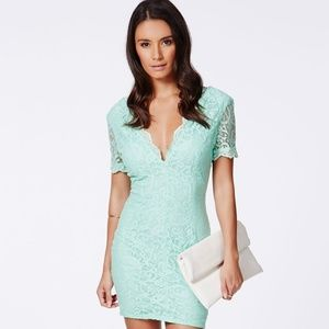 Missguided Olivia Plunge Mint Green Lace Dress NEW